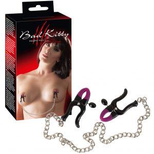 Bad Kitty - štipce na bradavky s retiazkou (fialová-čierna)
