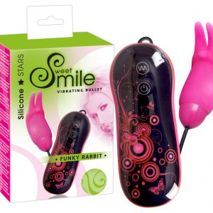SMILE Funky Rabbit - silikónové vibračné vajíčko (čierne-ružové)