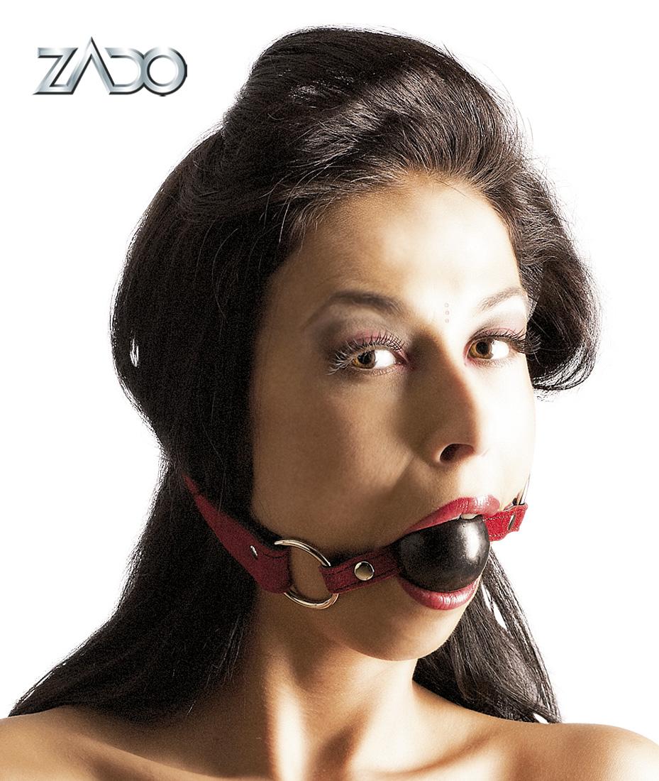 Gulička do úst na koženom popruhu (červený)