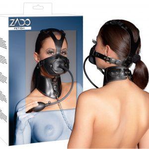 Nafukovacia kožená maska s obojkom