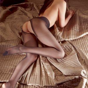 Súprava s podväzkovým pásom - fekete
