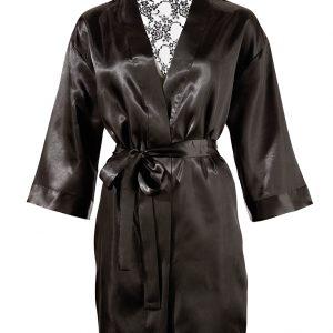 saténovo-čipkované kimono (čierne)