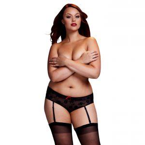 BACI Plus Size – vzorované nohavičky s podväzkami (čierne)